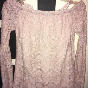 Off the shoulder, dusty rose, laced blouse